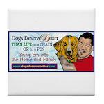 Man Hugs Dog-Color Tile Coaster