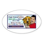 Man Hugs Dog-Color Oval Sticker