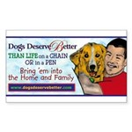Man Hugs Dog-Color Rectangle Sticker