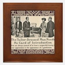 Tailor-Dressed Man with Lace Backgroun Framed Tile