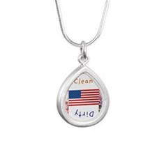 fourth of july Silver Teardrop Necklace
