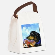 Dauntless Dachshund Drives the De Canvas Lunch Bag