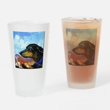 Dauntless Dachshund Drives the Dese Drinking Glass