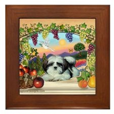 Fruited Arch Shih Tzu Framed Tile