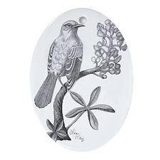 Mockingbird on Bluebonnett Oval Ornament