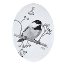 Chickadee with berries Oval Ornament