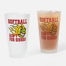 softball sisses(blk) Drinking Glass