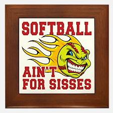 softball sisses(blk) Framed Tile
