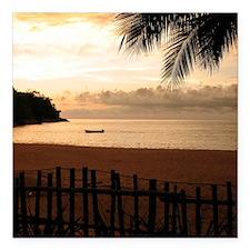 "Beach at Sunset Square Car Magnet 3"" x 3"""