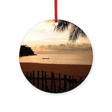 Beach at Sunset Round Ornament