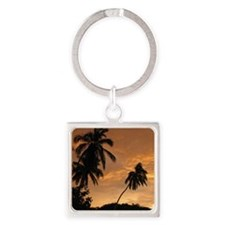 Palm Trees at Sunset Square Keychain