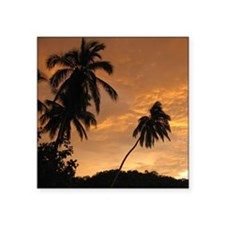 "Palm Trees at Sunset Square Sticker 3"" x 3"""