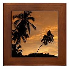 Palm Trees at Sunset Framed Tile