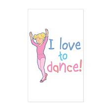 Love Dance Ballet Girl 4 Rectangle Decal