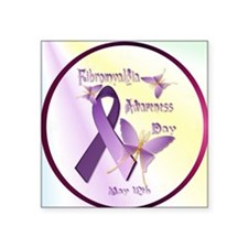 "Fibromyalgia Awareness Day- Square Sticker 3"" x 3"""