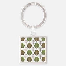 ArgyleTrees01 Square Keychain