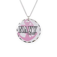 Navy Sister Necklace Circle Charm