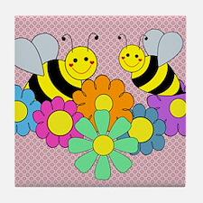blanketbeesflowers2 Tile Coaster
