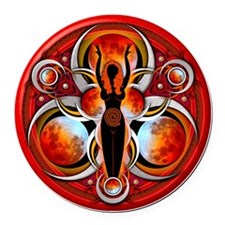 Goddess Design - 003 - Fire Round Car Magnet