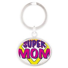 super MOM-outline Oval Keychain