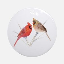 Northern Cardinal male & fema Ornament (Round)