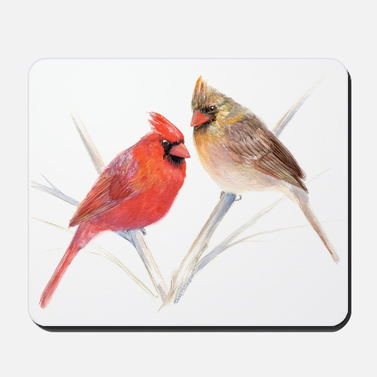 Northern Cardinal male & fema Mousepad