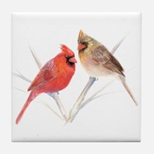 Northern Cardinal male & fema Tile Coaster