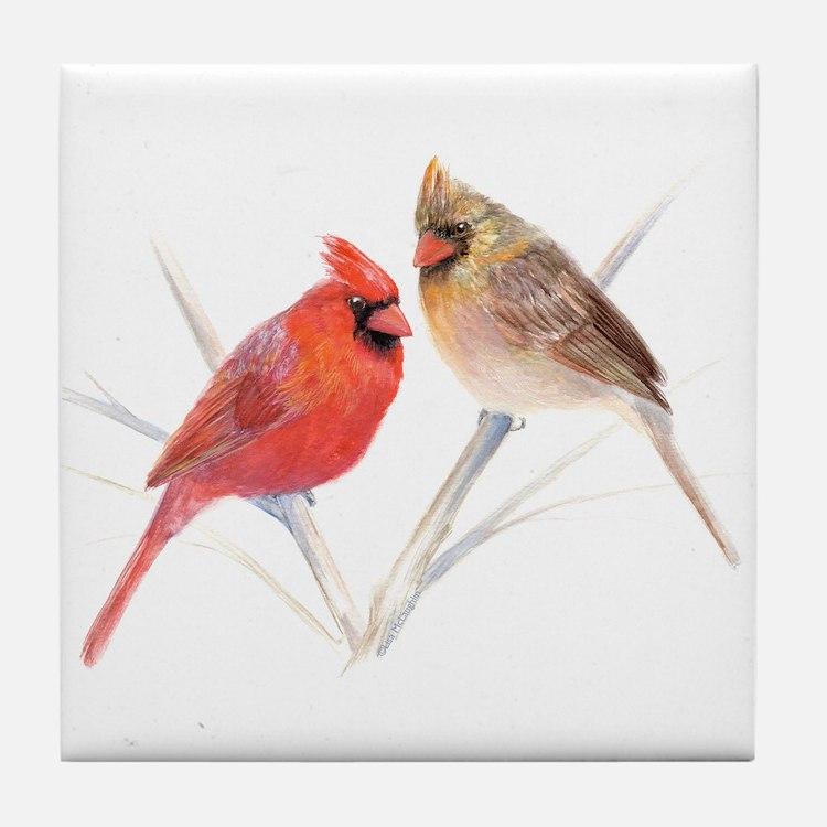Northern Cardinal male & fema Tile Coaster