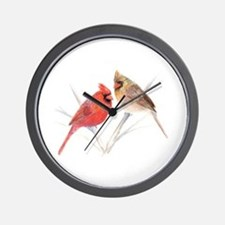 Northern Cardinal male & fema Wall Clock