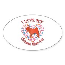 Love Shar-Pei Oval Decal