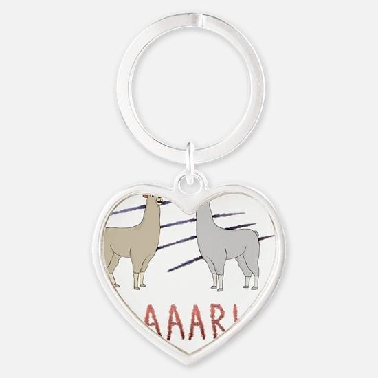 Llamas-D1-BlackApparel Heart Keychain