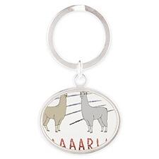 Llamas-D1-TravelMug Oval Keychain