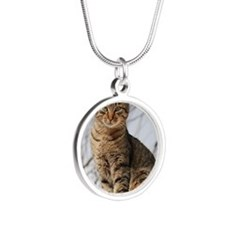 tabbycat2 Silver Round Necklace