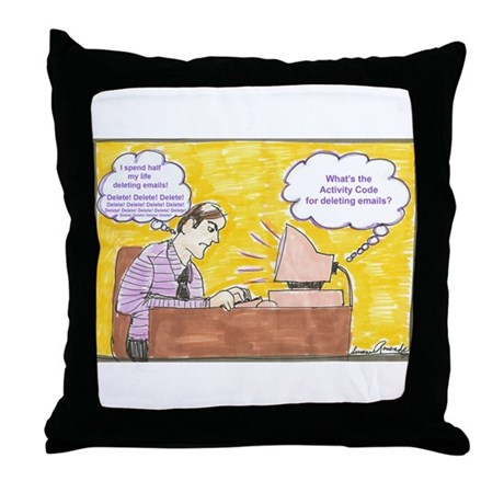 Deleting Emails Throw Pillow