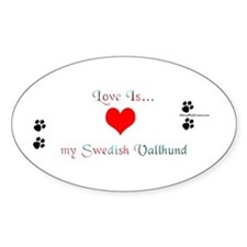 Vallhund Love Oval Decal