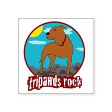 "Tripawds Rock Front Leg Pit Square Sticker 3"" x 3"""