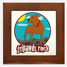 Tripawds Rock Front Leg Pit Bull Framed Tile