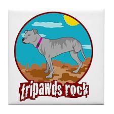 Tripawds RockRear Leg Pit Bull Tile Coaster