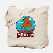 Trpawds Rock Three legged Pitbull Front L Tote Bag