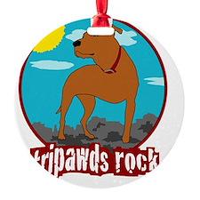 Trpawds Rock Three legged Pitbull F Ornament