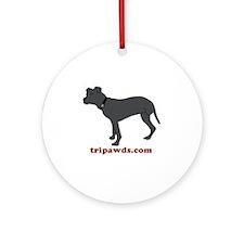 Tripawd Pitbull Rear Leg Round Ornament