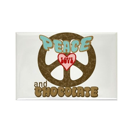 PEACE LOVE AND CHOCOLATE Rectangle Magnet (10 pack