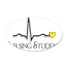 Nursing Student QRS Yellow Oval Car Magnet
