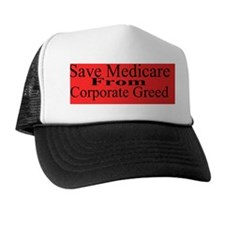 Save Medicare Greed-red bk stick Trucker Hat