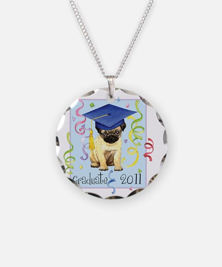 pug gradK Necklace Circle Charm
