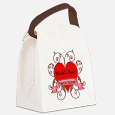 Worlds Best Psych Nurse with hear Canvas Lunch Bag