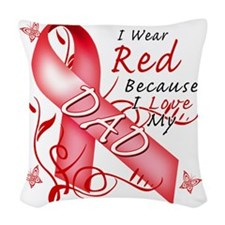 I Wear Red Because I Love My D Woven Throw Pillow