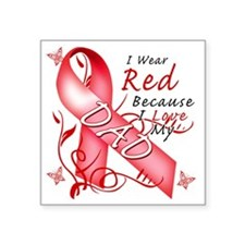 "I Wear Red Because I Love M Square Sticker 3"" x 3"""