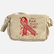I Wear Red Because I Love My Daughte Messenger Bag