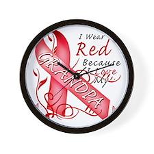 I Wear Red Because I Love My Grandpa Wall Clock